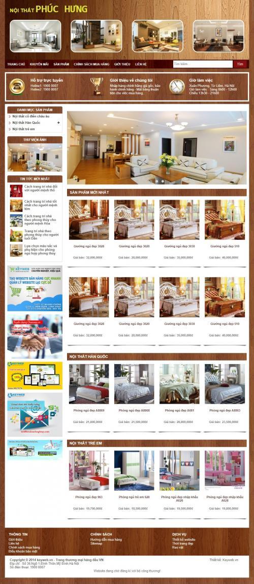 Thiết kế web nội thất giường ngủ Phúc Hưng