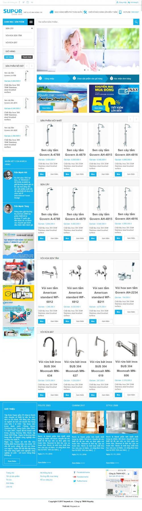 THiết kế web shop bán thiết bị cấp thoát nước
