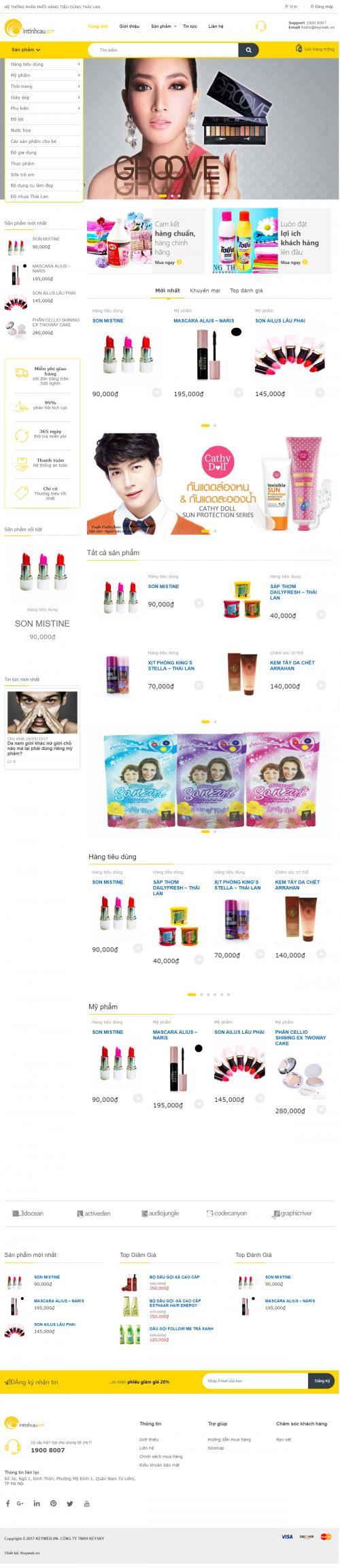 Thiết kế website bán son và mỹ phẩm