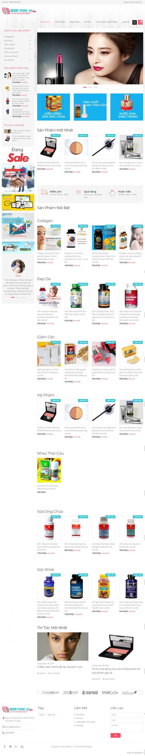Thiết kế website bán mỹ phẩm và thực phẩm chức năng