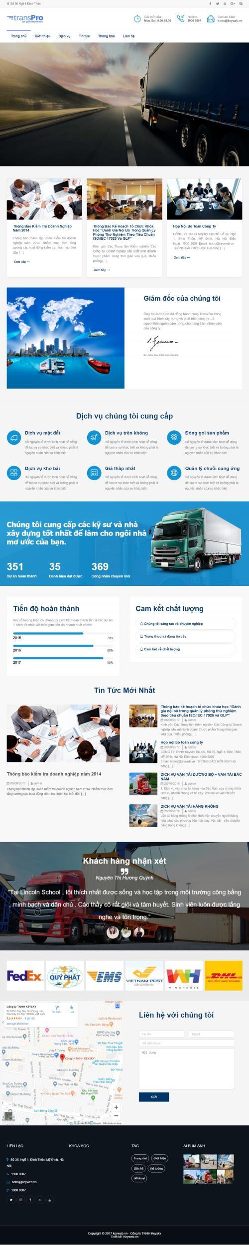 Thiết kế website công ty vận tải 2