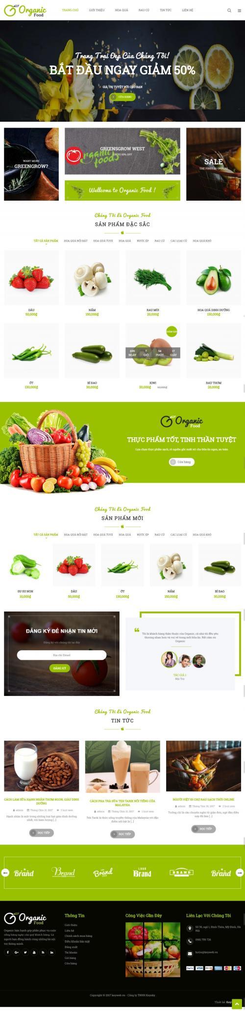 Thiết kế website siêu thị nông sản