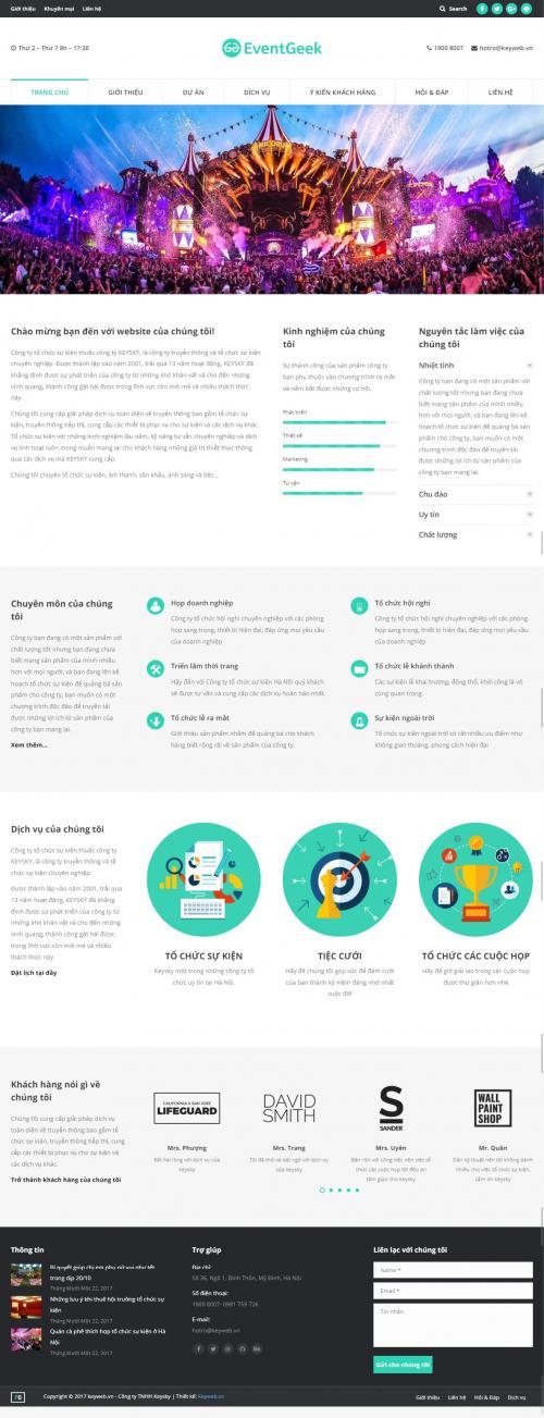 Thiết kế website dịch vụ sân khấu sự kiện