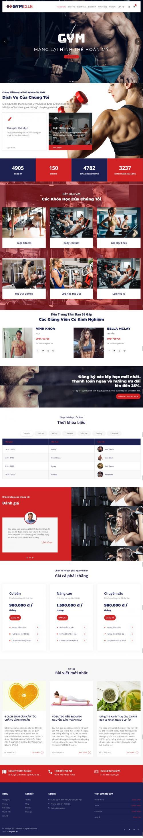 Thiết kế website dịch vụ thể hình gym