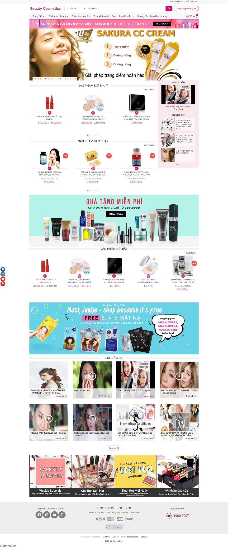Mẫu website shop mỹ phẩm Beauty Cosmetics