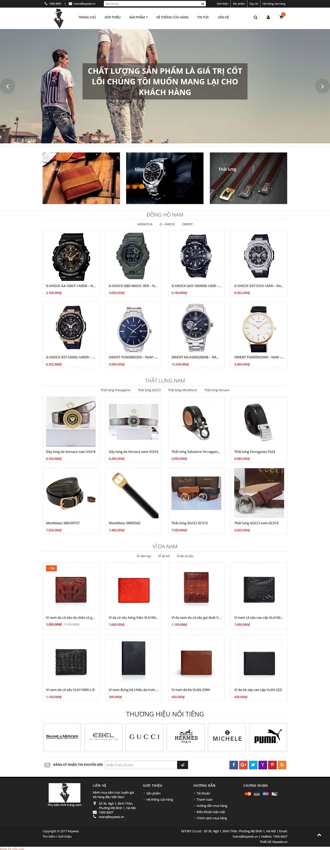 Mẫu website phụ kiện thời trang nam Gentleman