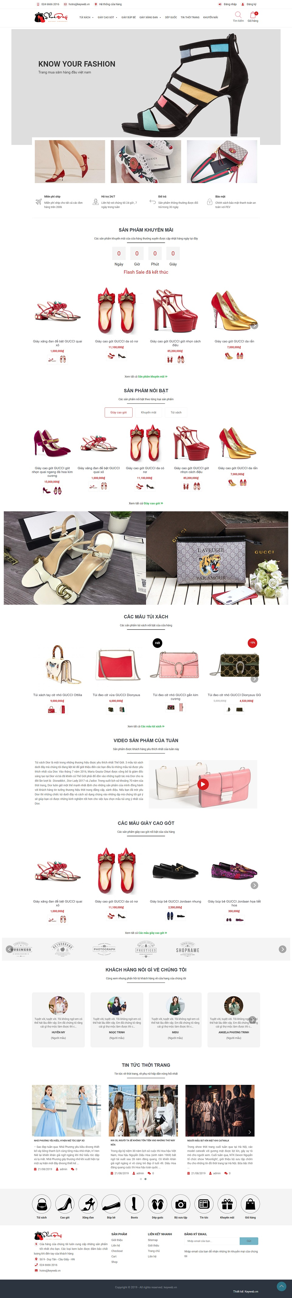 Mẫu website shop phụ kiện thời trang ShoeBag
